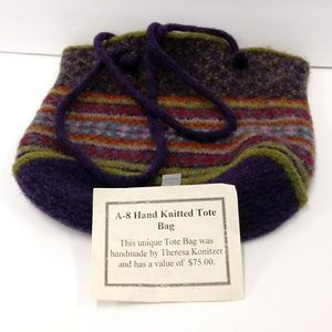 A-8 Hand Knitted Tote Bag Purse by T Konitzer New